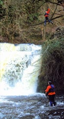 Jump off waterfall whilst canyoning in brecon beacons with Call of the Wild